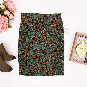 LULAROE Cassie Pencil Skirt Green Paisley Print